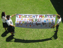 market, community, banner, sign, painted, students